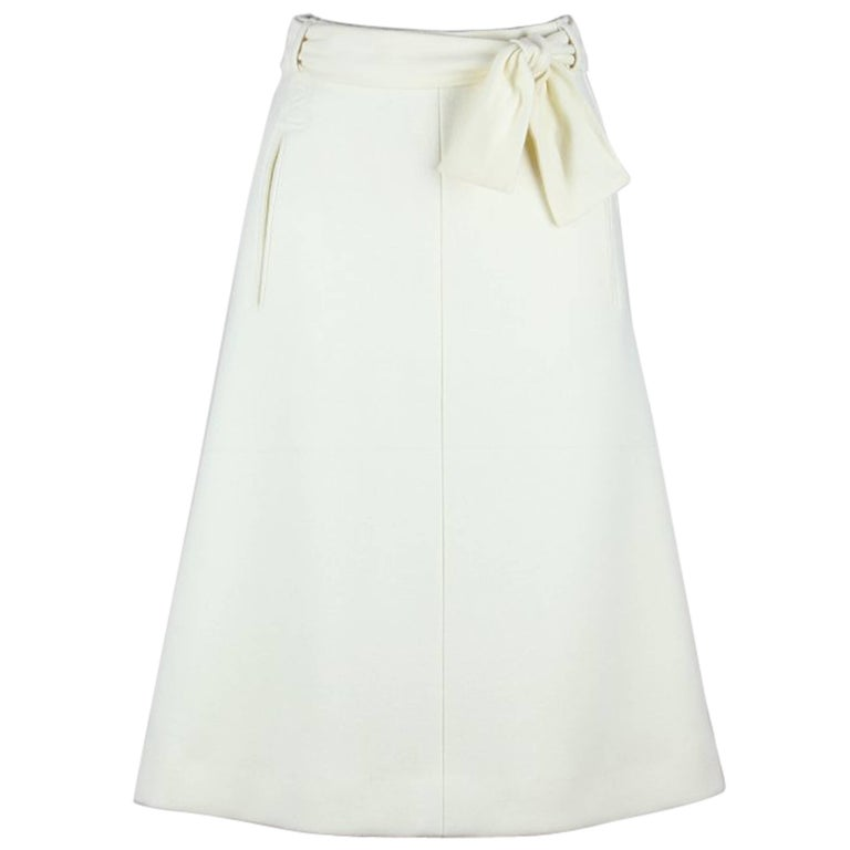 Bogner 1980s Ivory White New Wool A-Line Skirt With Logo Embroidery And Belt