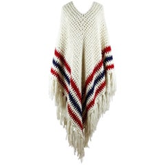 1970s Creme-White Red Blue Crochet Chevron Pattern Wool Poncho With Fringes