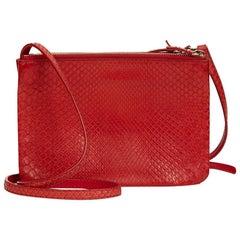 2012 Celine Red Python Trio Bag