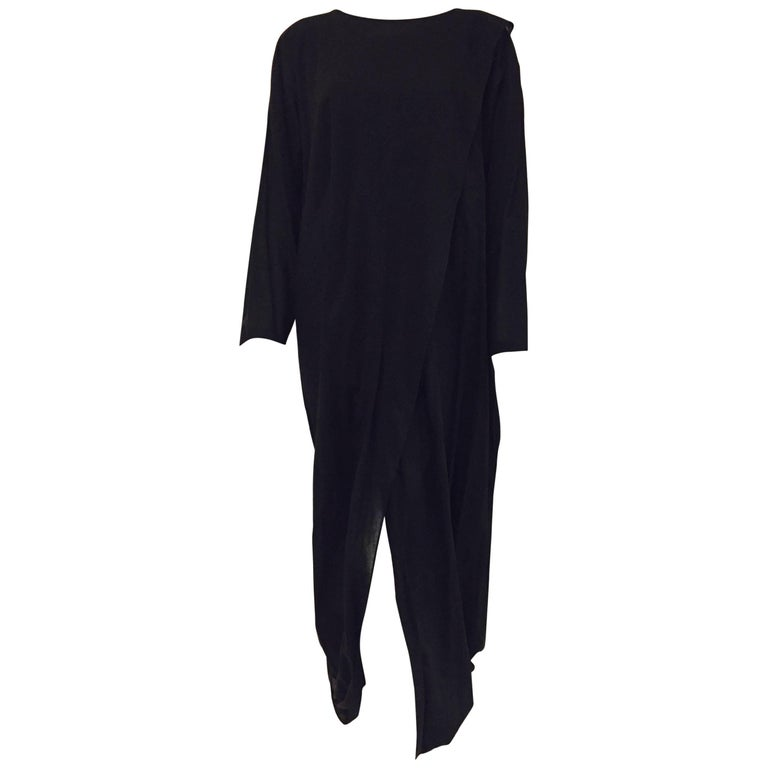 Ingenious Issey Miyake's Long Black Cocoon Dress with Long Sleeves