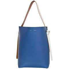 Celine Blue & Black Shiny Calfskin Small Twisted Cabas Tote Bag