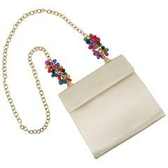 Italian 1980's Neiman Marcus Satin Handbag With Bejeweled Handle