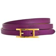 Hermes Anemone Purple Hapi 3 H Wrap Bracelet Sz M