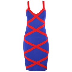 ALEXANDER McQUEEN Resort 2010 Royal Blue & Red Criss Cross Bandage Bodycon Dress
