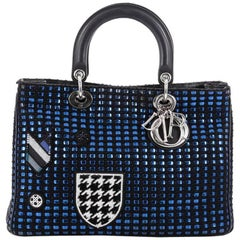 Christian Dior Lady Dior Handbag Embellished Woven Tweed and Leather Large