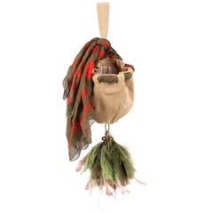 """ALEXANDER McQUEEN S/S 2003 """"Irere"""" Sueded Leather Feather Purse With Silk Scarf"""