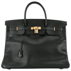 Hermes Birkin 35 Black Leather Gold Carryall Satchel Travel Travel Tote Bag
