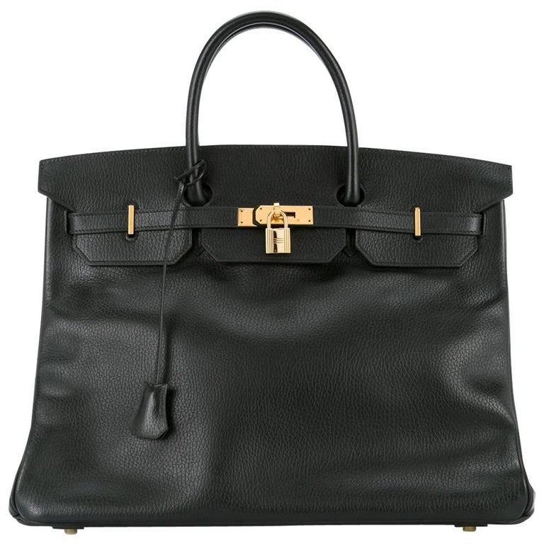 Hermes Birkin 40 Black Leather Gold Carryall Satchel Travel Travel Tote Bag
