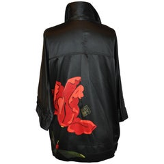 "Michael Vollbrach Oversized Black Silk ""Orchid"" Top"