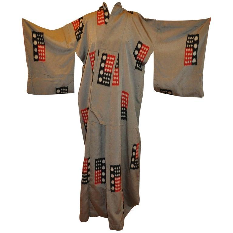 "Charcoal Gray Japanese ""Color Block"" Silk Kimono"