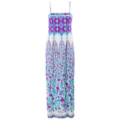 EMILIO PUCCI c.1970's Blue Multicolor Geometric Signature Print Maxi Slip Dress