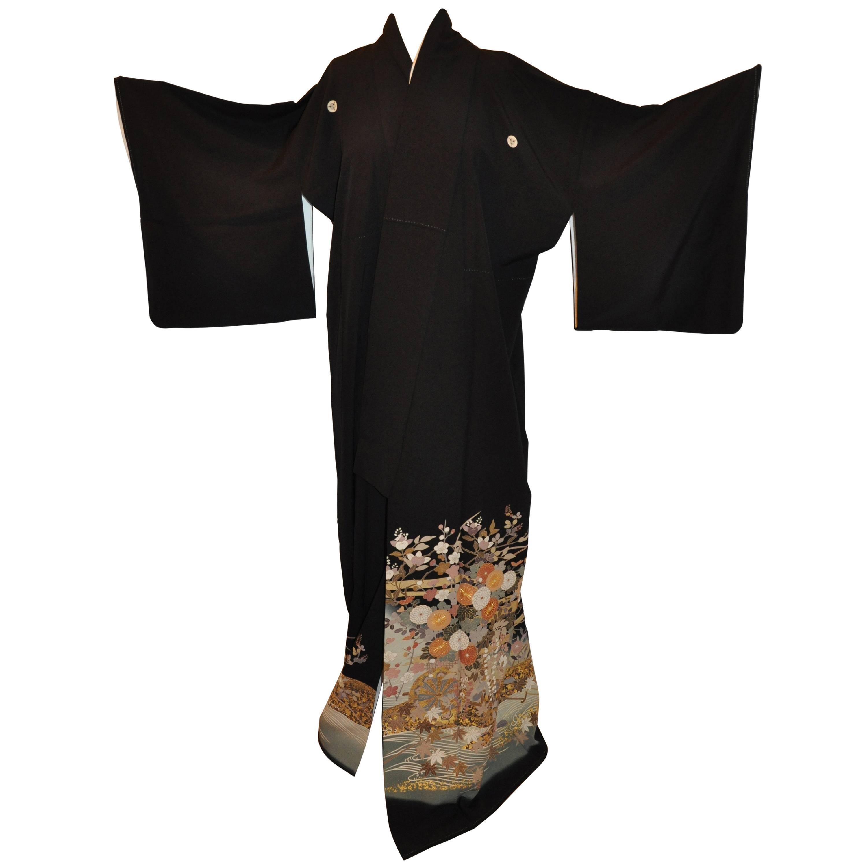 """Multi-Florals with """"Bursting Mums"""" Black Silk Kimono"""