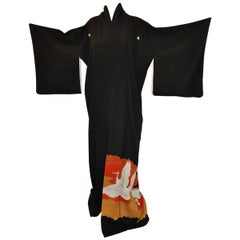 "Black with ""Summer Cranes In Flight"" Silk Kimono"