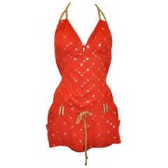"Coogi Bold Red with Gilded Gold Halter ""Hot Pants"" Jumper"