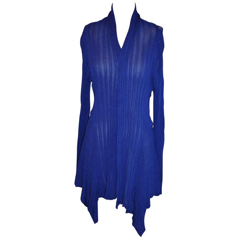 Bold Blue Lapis Asymmetric & Lace Open Cardigan