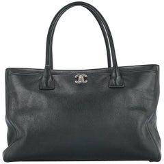 Chanel Black Leather Top Handle Carryall Travel Tote Bag