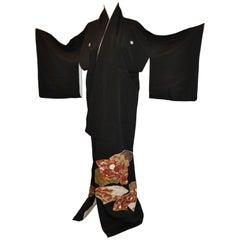 "Black Silk ""Multi-Color Multi-Fans"" Japanese Kimono"