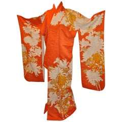 "Warm ""Shades of Tangerine"" Gold Lame Multi-Floral Silk Kimono"