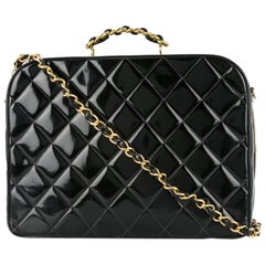 Chanel Black Patent Top Handle Lunch Box Carryall Shoulder Bag