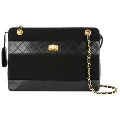 Chanel Black Leather Fabric Turnlock Square Shoulder Bag