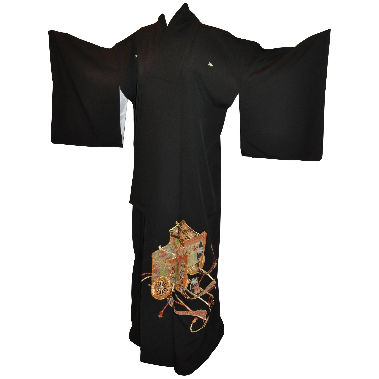 """Multi-Textured Gold Cord """"Emperor's Carriage"""" Black Silk Kimono"""