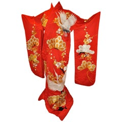 "Magnificent Empress Red ""Multi Floral & Lucky Crans"" Ceremonial Silk Kimono"
