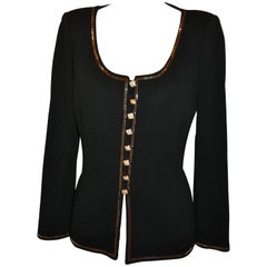 St. John Black Accented with Rhinestone Encrusted Evening Scoop-Neck Top