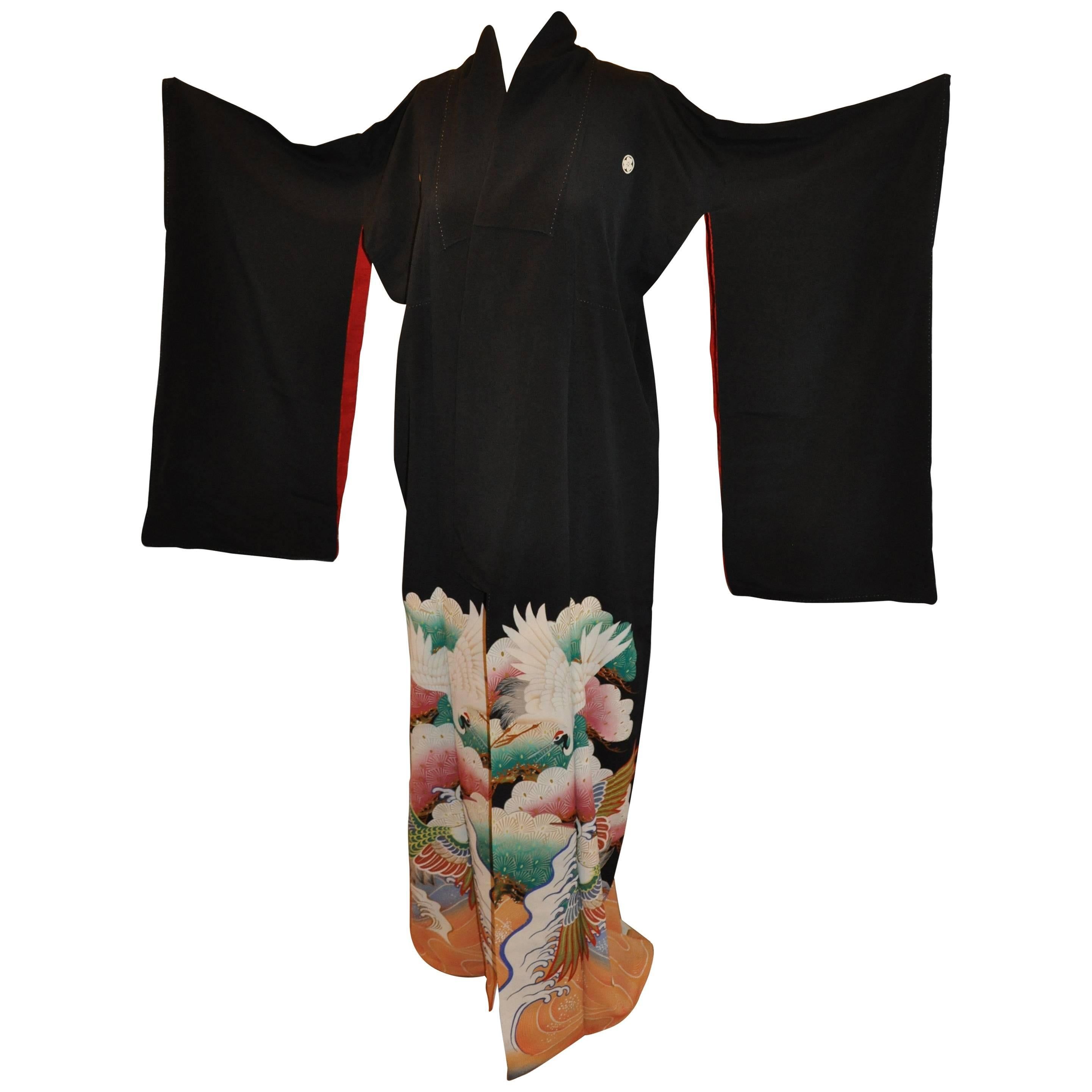 "Multi Color ""Cranes Among Waves"" Black Silk Kimono"