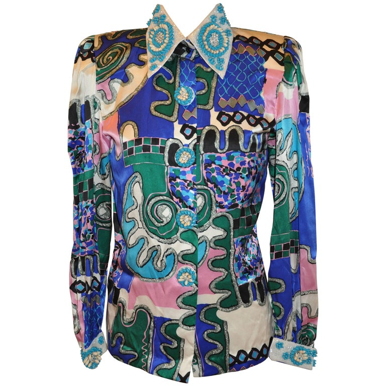 Yves Saint Laurent Bold Multi-Abstract & Detailed Micro Beaded Blouse