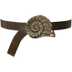 "Mr. We Adjustable Whimsical Gilded Gold Hardware ""Snail"" Belt"