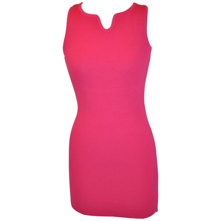 "Christian Dior ""Boutique"" Cashmere Blend Fuchsia  Body-Hugging Tank Dress"