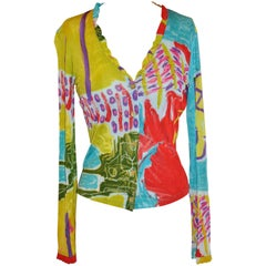 Christian LaCroix Bold Multi-Abstract Stretch Form-Fitting Button Top