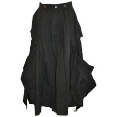 Kansai Yamamoto Black Deconstructed Optional High-Slit Skirt