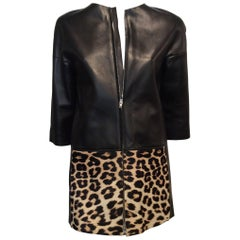 Celine Black Leather And Leopard Print Ponyhair Jacket Sz 36 (4)