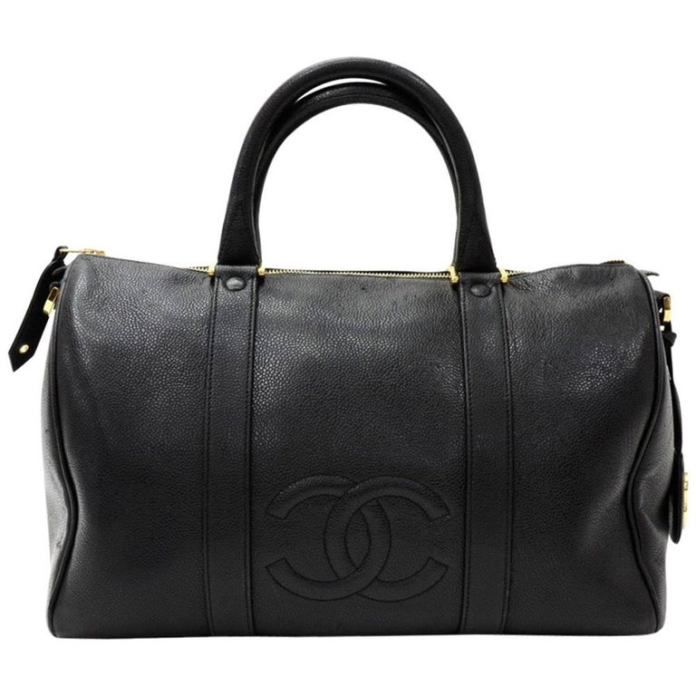 Vintage Chanel Boston Speedy Black Caviar Leather Hand Bag