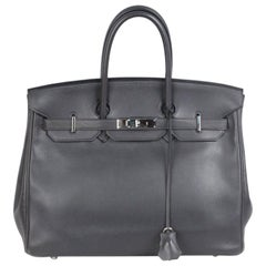 HERMES Gray Ardoise VEAU SWIFT Leather BIRKIN 35 Bag