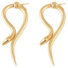 Giulia Barela Hooked earrings, gold plated bronze