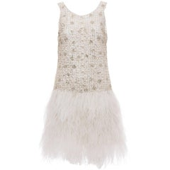 Oscar de la Renta Silk Metallic Sequin Pearl Evening Dress With Ostrich Feathers