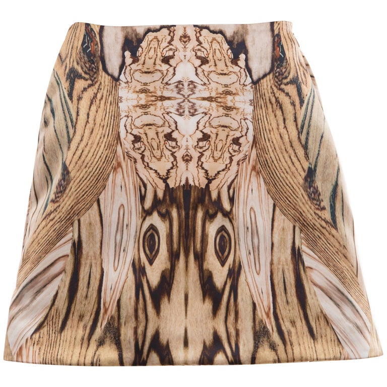 Alexander McQueen Silk Wood Grain Digital Print Mini Skirt, Spring 2009 For Sale