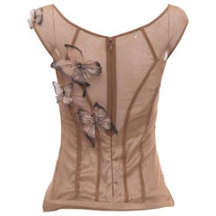 Dolce & Gabanna Cotton Lycra Mesh Top With Applique Butterflies, Spring 1998