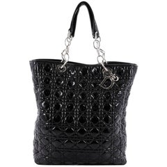 Christian Dior North South Soft Chain Tote Cannage Quilt Patent Medium
