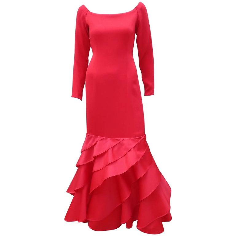 1980's Bill Blass Lipstick Red Silk Evening Dress For Sale