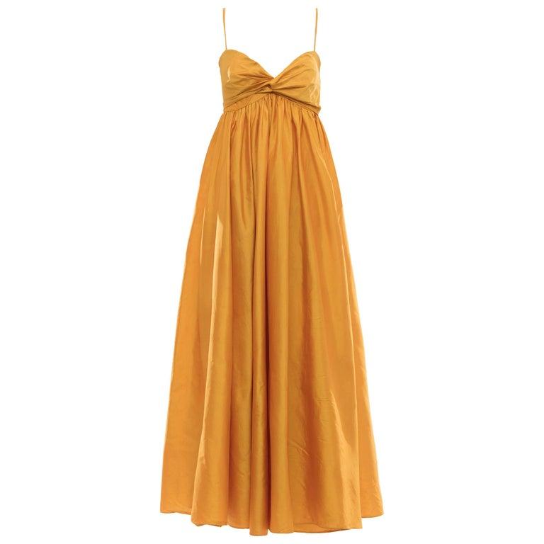 Donna Karan Silk Marigold Evening Dress, Circa 1980s For Sale
