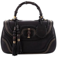 Gucci New Bamboo Top Handle Bag Studded Leather Large