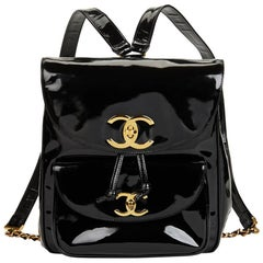 1995 Chanel Black Patent Leather Vintage Timeless Backpack