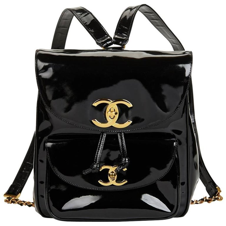 1995 Chanel Black Patent Leather Vintage Timeless Backpack 1