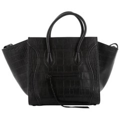 Celine Phantom Handbag Crocodile Embossed Leather Medium