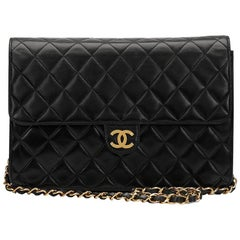 1997 Chanel Black Quilted Lambskin Vintage Classic Single Flap Bag