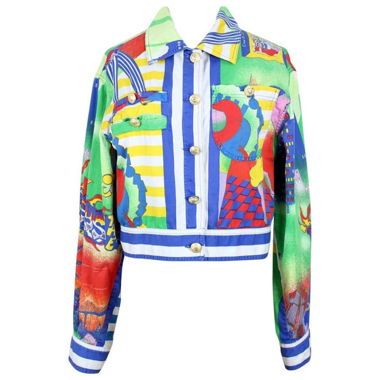 Gianni Versace Spring/Summer 1995 Multi-Coloured Jazz Age Print Cropped Jacket