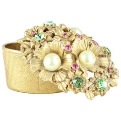 Florenza 1970s Small Heavy Jeweled Floral Motif Gold-Plated Jewelry Trinket Box